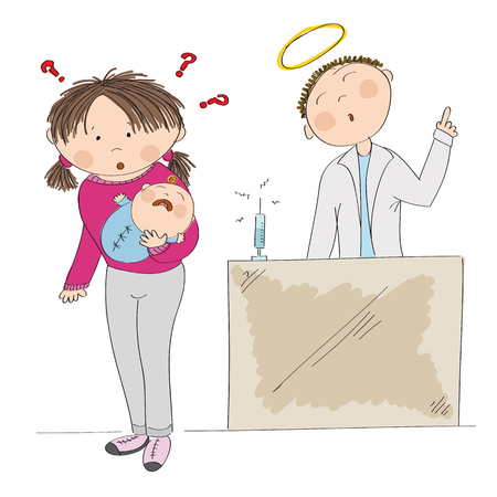 Young mother holding her baby and a doctor icon.