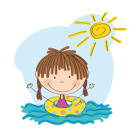 baby playing toy: Little girl swimming icon.