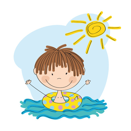 baby playing toy: Little boy swimming icon.