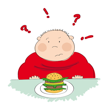Fat man with hamburger icon. Illustration