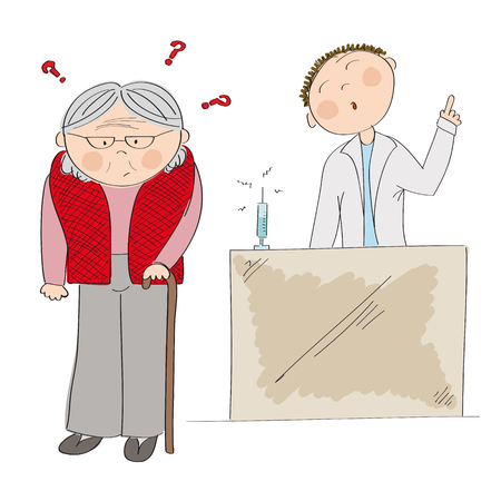Puzzled old lady and doctor icon. Illustration