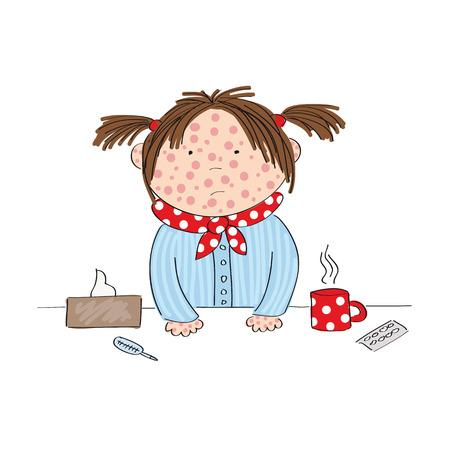 Sick girl icon. Illustration