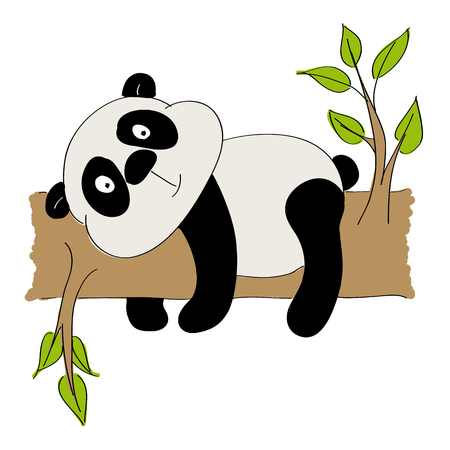 Panda lying on a branch icon.