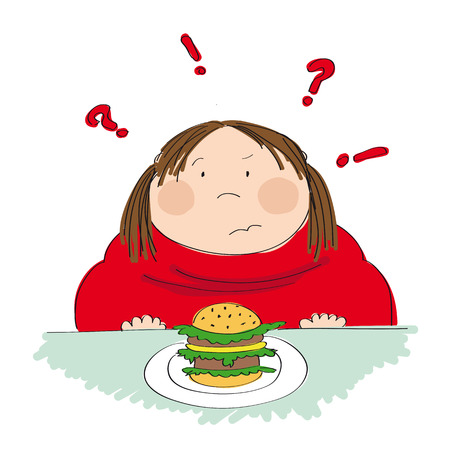 Fat woman with hamburger icon.
