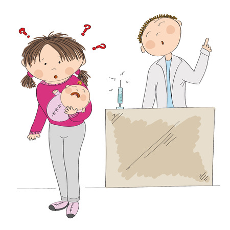 babygirl: Mother holding her baby girl and a doctor icon. Illustration