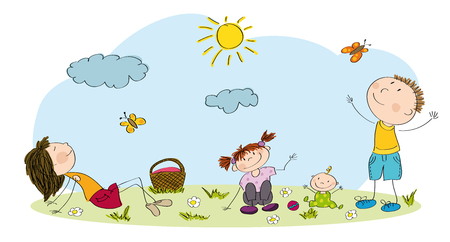 Family having picnic icon.
