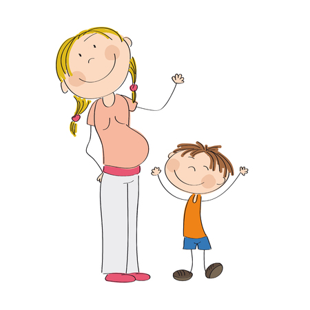 babygirl: Happy young pregnant woman with her little son - original hand drawn illustration