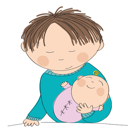 babygirl: Happy young father holding his little baby girl - original hand drawn illustration Illustration