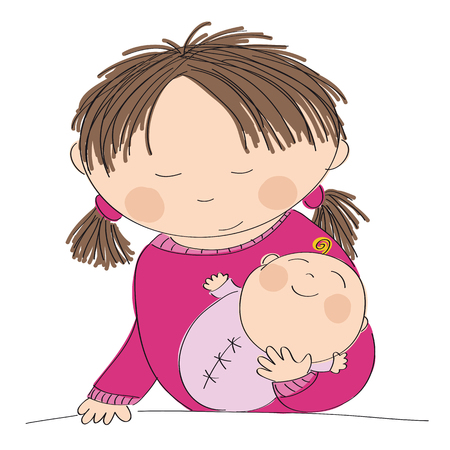 Happy young mother holding her little baby girl - original hand drawn illustration