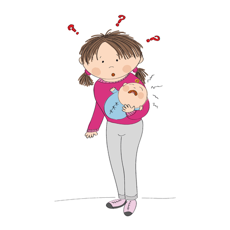 Puzzled young mother holding her crying baby boy. What to do? Why it is crying? Original hand drawn illustration.