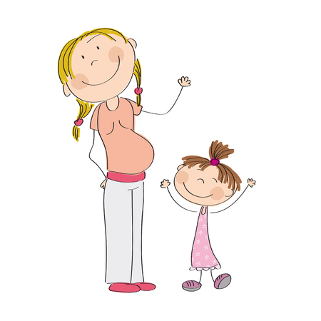 Happy young pregnant woman with her little daughter - original hand drawn illustration