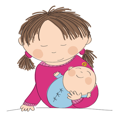 choosing: Happy young mother holding her little baby boy - original hand drawn illustration