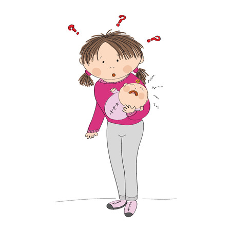 babygirl: Puzzled young mother holding her crying baby girl. What to do? Why it is crying? Original hand drawn illustration.