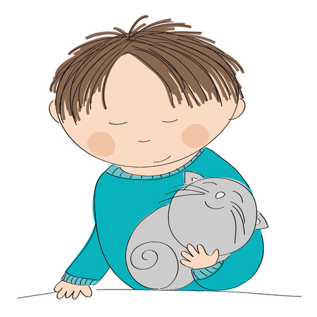 fondle: Happy boy holding his little grey kitten - original hand drawn illustration