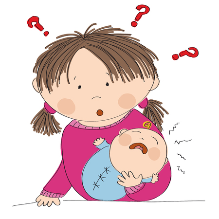 Puzzled young mother with crying baby boy. What to do? Why it is crying? Original hand drawn illustration.