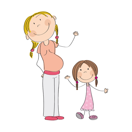 babygirl: Happy young pregnant woman with her little daughter - original hand drawn illustration