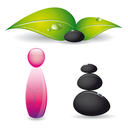 Spa and wellness vector set with black stones, green leaves and perfume bottle