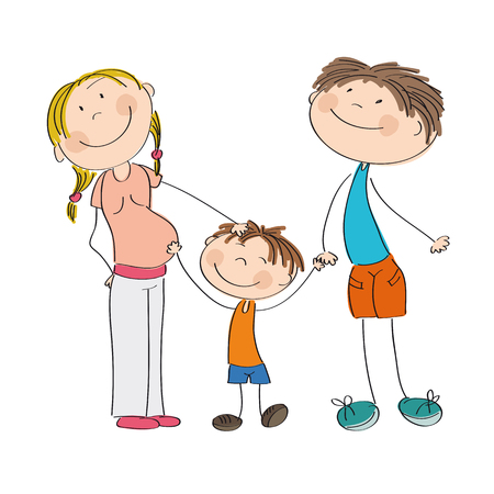 babygirl: Happy young family - original hand drawn illustration of pregnant mum, dad and their son Illustration