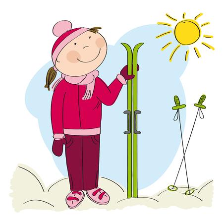 Happy skier, standing and holding ski - original hand drawn illustration Illustration