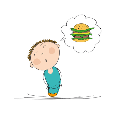 Hungry man thinking of a hamburger - original hand drawn illustration Illustration