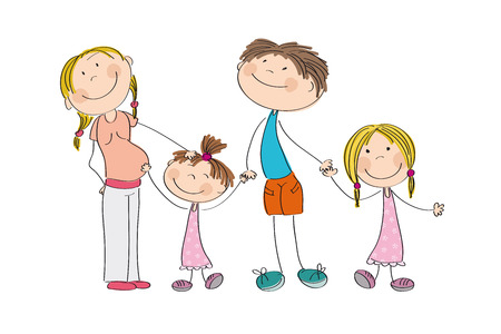 babygirl: Happy young family - original hand drawn illustration of pregnant mum, dad and their two children (girls)