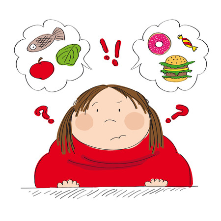 Dubious fat woman thinking of food, trying to decide what to eat - whether healthy or unhealthy food - original hand drawn illustration