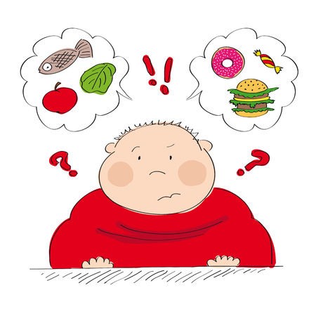 Dubious fat man thinking of food, trying to decide what to eat - whether healthy or unhealthy food - original hand drawn illustration