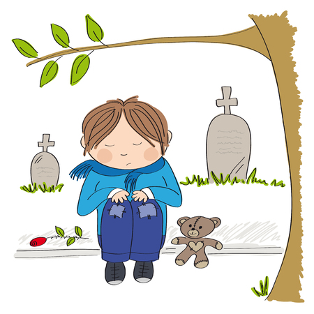 Sad and alone little boy sitting on the pavement in front of the graveyard, crying and remembering someone he has lost - original hand drawn illustration Illustration