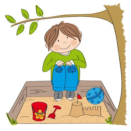 Happy little boy playing on the sandpit, building sand castle - original hand drawn illustration