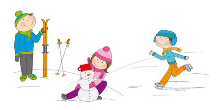 Children playing outside in the snow, boy skier, boy ice skating, girl making a snowman - original hand drawn illustration Иллюстрация