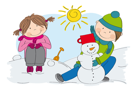 Cute little children (boy and girl) making a snowman, playing in the snow - winter scene Illustration