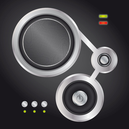 An Audio speaker with on and off button - abstract illustration