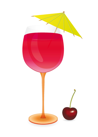 A Cocktail with umbrella and cherry - vector illustration