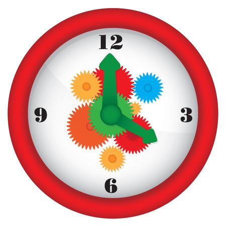 Clock with gears - vector illustration 일러스트