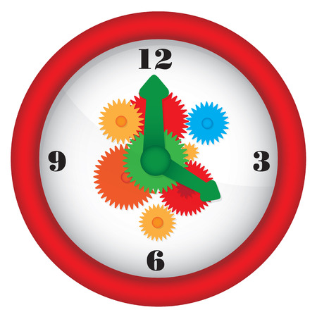 Clock with gears - vector illustration Illustration