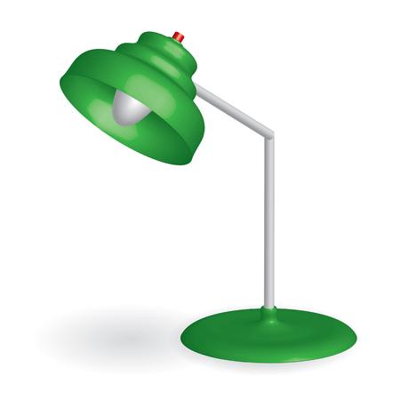 3D green desk lamp - vector illustration Illustration