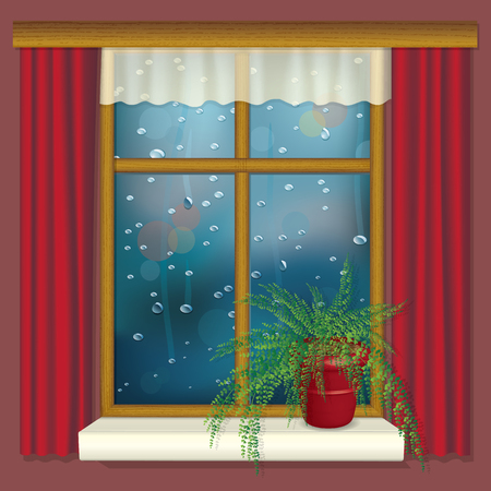 Realistic illustration of rainy window with curtains and flower on the window sill