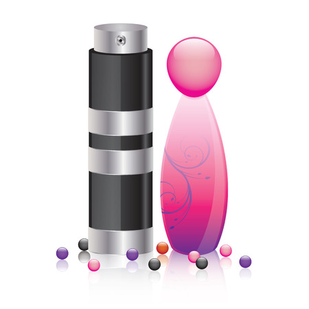 Perfume bottles for man and woman - 3D vector illustration