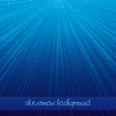 Blue christmas background with rays of light and falling snow - vector illustration Illusztráció