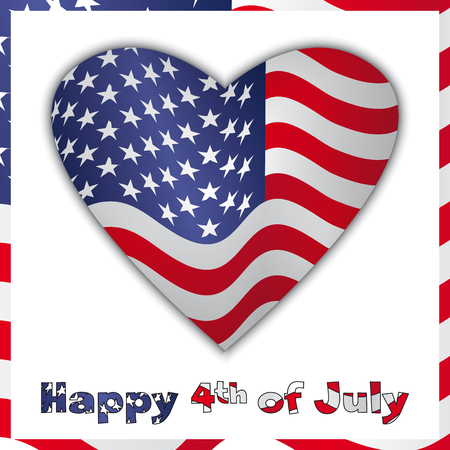 4th of July Independence Day - American Flag in heart - vector illustration