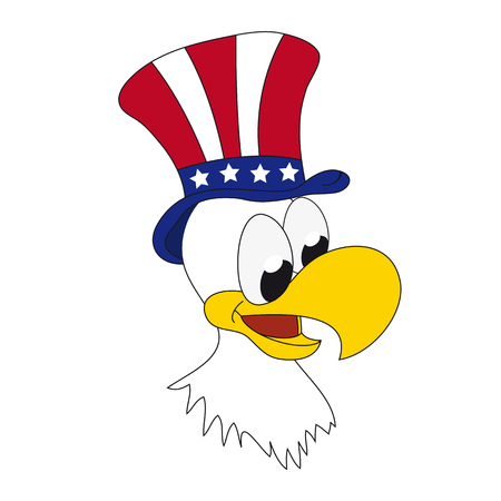 American patriotic eagle with hat on his head - funny cartoon vector illustration Illustration