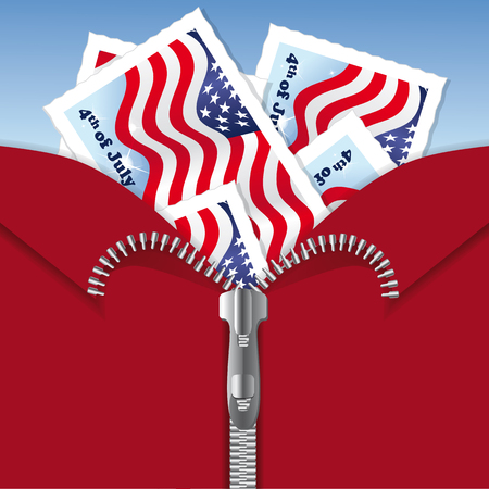 4th of July Independence Day - Postcards with American Flags in Zipper Illustration