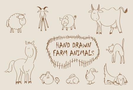Hand drawn farm animals set including sheep, goat, pig, cow, horse, hen, chicken, rabbit, goose, cat and dog Illusztráció