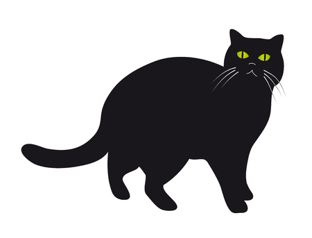 Silhouette of black cat with green eyes Illustration
