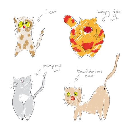 Vector set of hand drawn cats in different moods (ill cat, happy fat cat, pompous cat and bewildered cat)