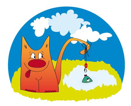 Funny illustration of fishing fat ginger cat
