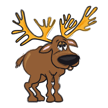 Reindeer - funny cartoon vector illustration of christmas animal