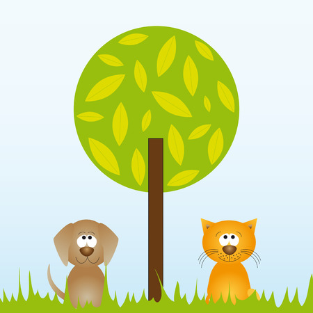 Cat and dog sitting underneath a tree - vector illustration Illustration