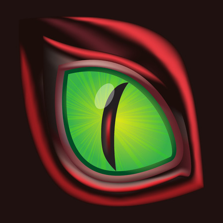 Dragon eye - original realistic vector illustration Çizim