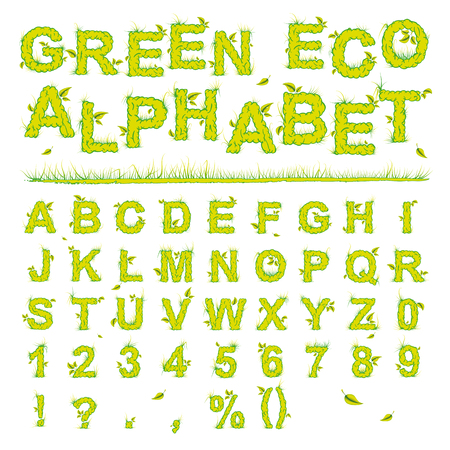 Green Eco Alphabet - letters with leaves and grass
